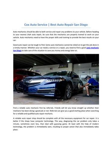 Reliable Auto Mechanics >> Cox Auto Service San Diego Honest Auto Repair Shops