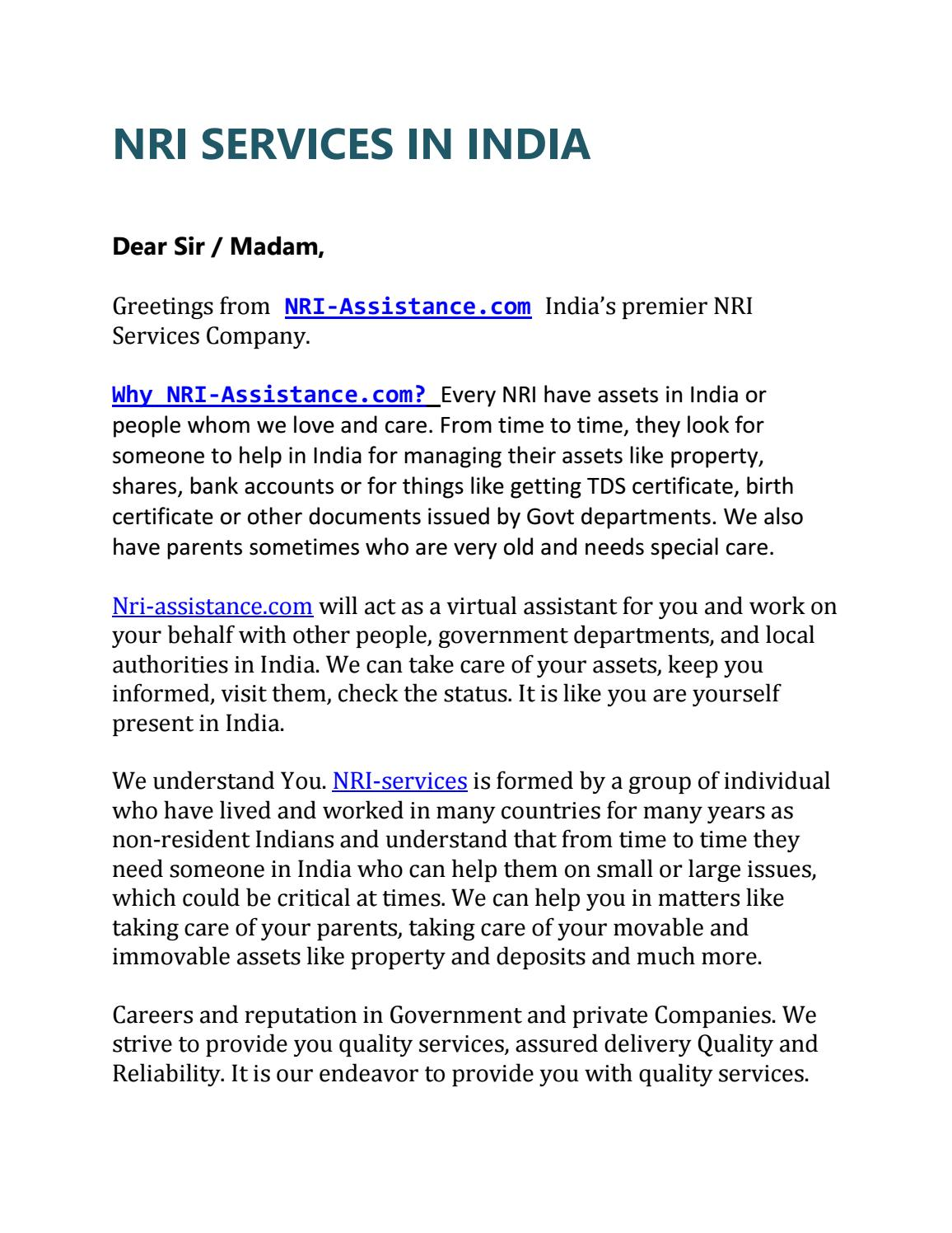 Nri services in india by nri assistance issuu kristyandbryce Choice Image