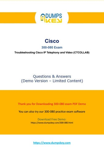 Actual 300-080 Dumps - Troubleshooting Cisco IP Telephony and Video Exam