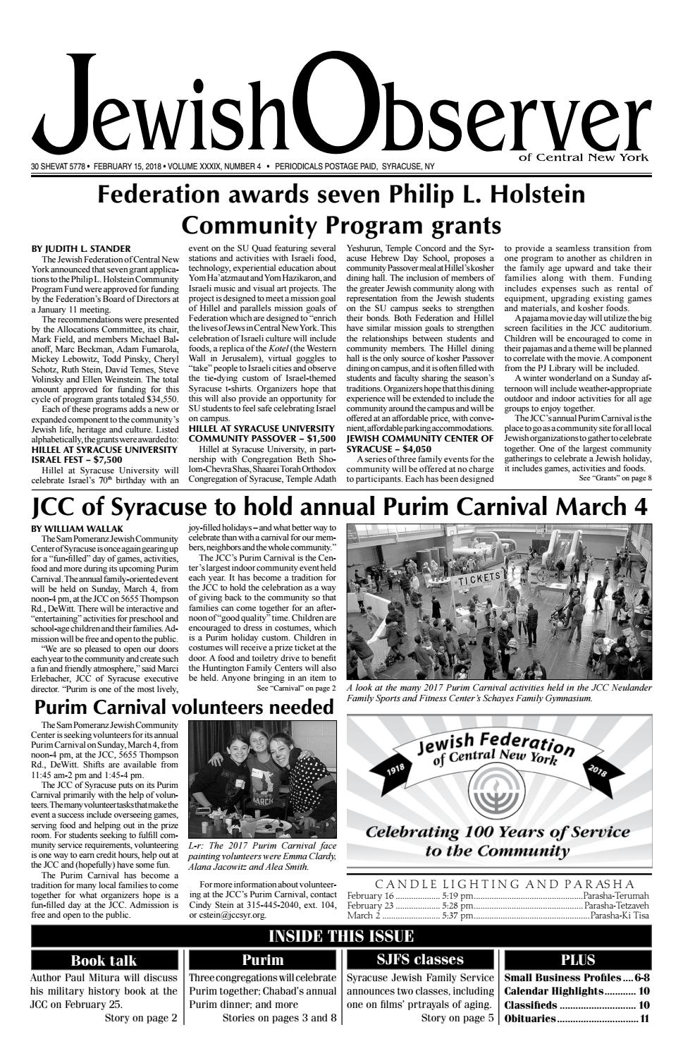 Jewish Observer Issue Of 21518 By Jewish Federation Of Cny Issuu
