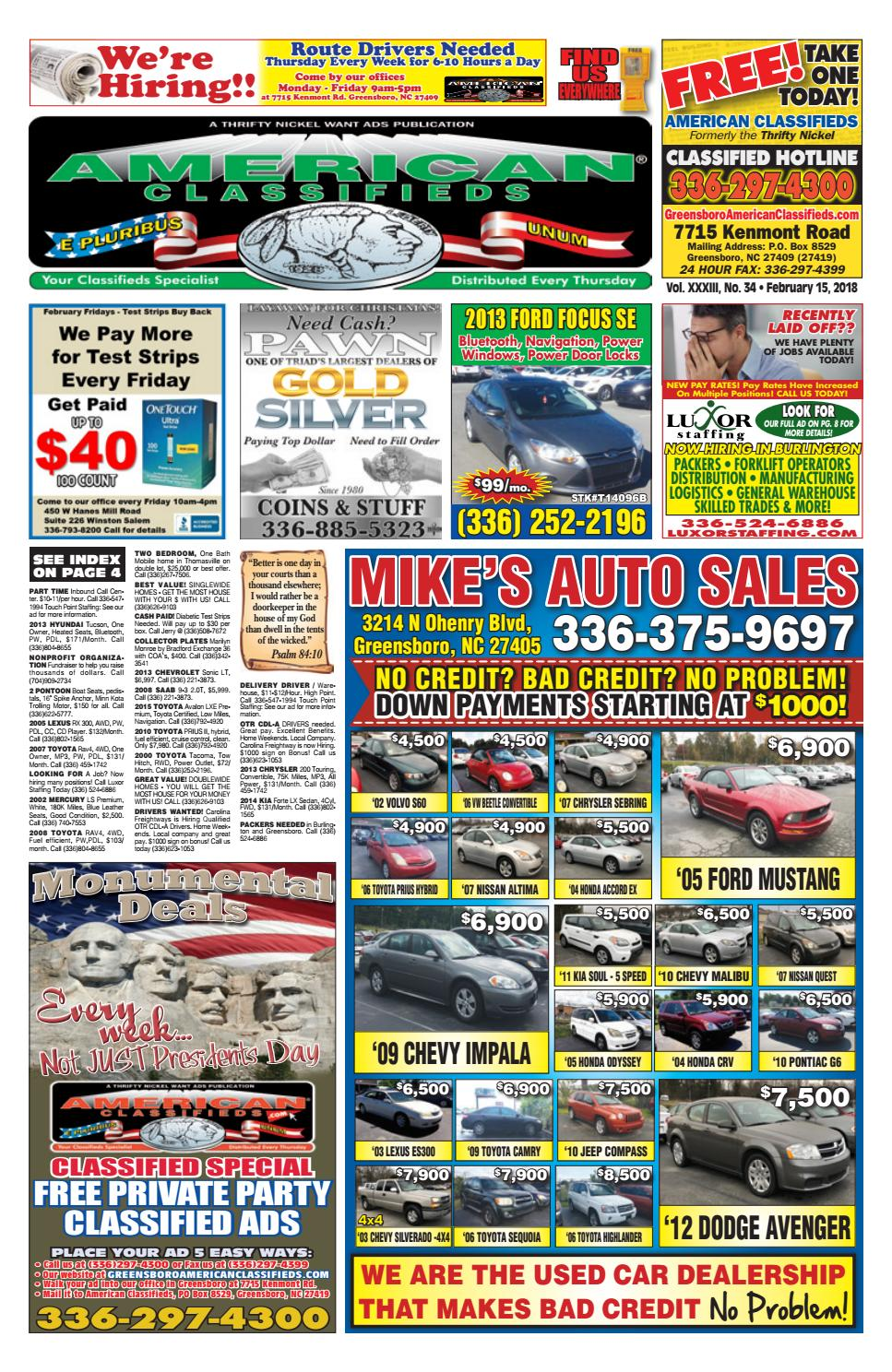 American Classifieds Greensboro, NC by Melissa Fedeli - issuu