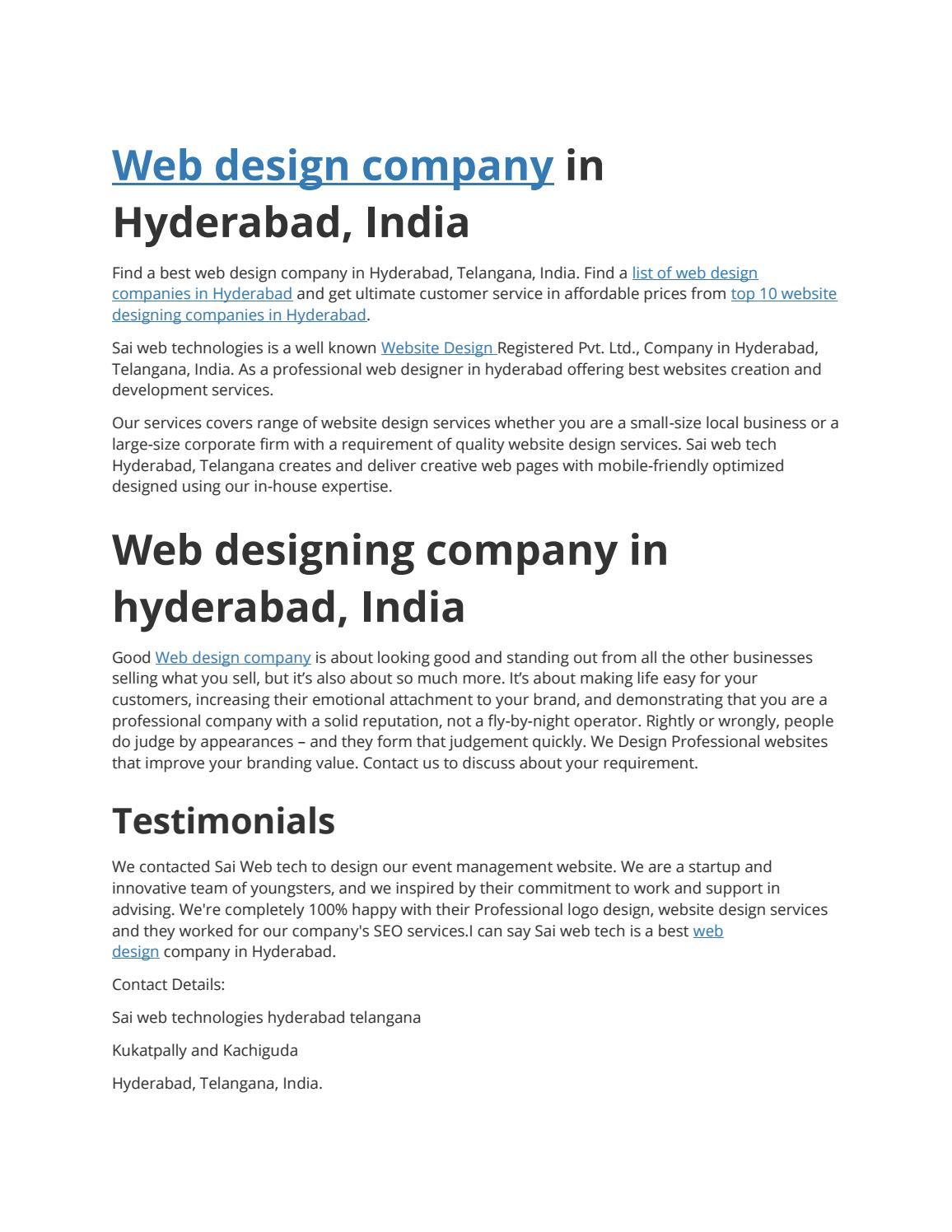 Web Design Company In Hyderabad By Saiwebtechindia Issuu