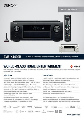 Denon AVR-X4400H sintoamplificatore Audio-Video by extrasound it - issuu