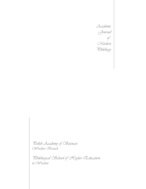 Academic Journal Of Modern Philology Vol 6 2017 By Wyższa