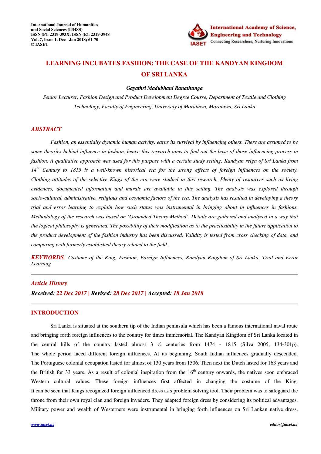 7 Ijhss Learning Incubates Fashion The Case Of The Kandyan Kingdom Of Sri Lanka By Iaset Journals Issuu