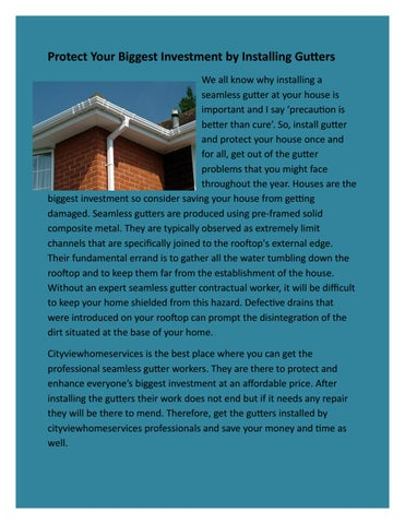 Protect Your Gest Investment By Installing Gutters