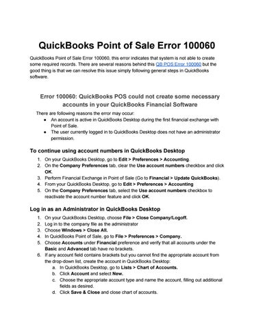 QuickBooks Point of Sale Error 100060 QuickBooks Point of Sale Error 100060,  this error indicates that system is not able to create some required  records.
