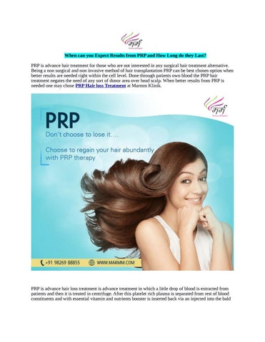 When can you expect results from prp and how long do they last (1