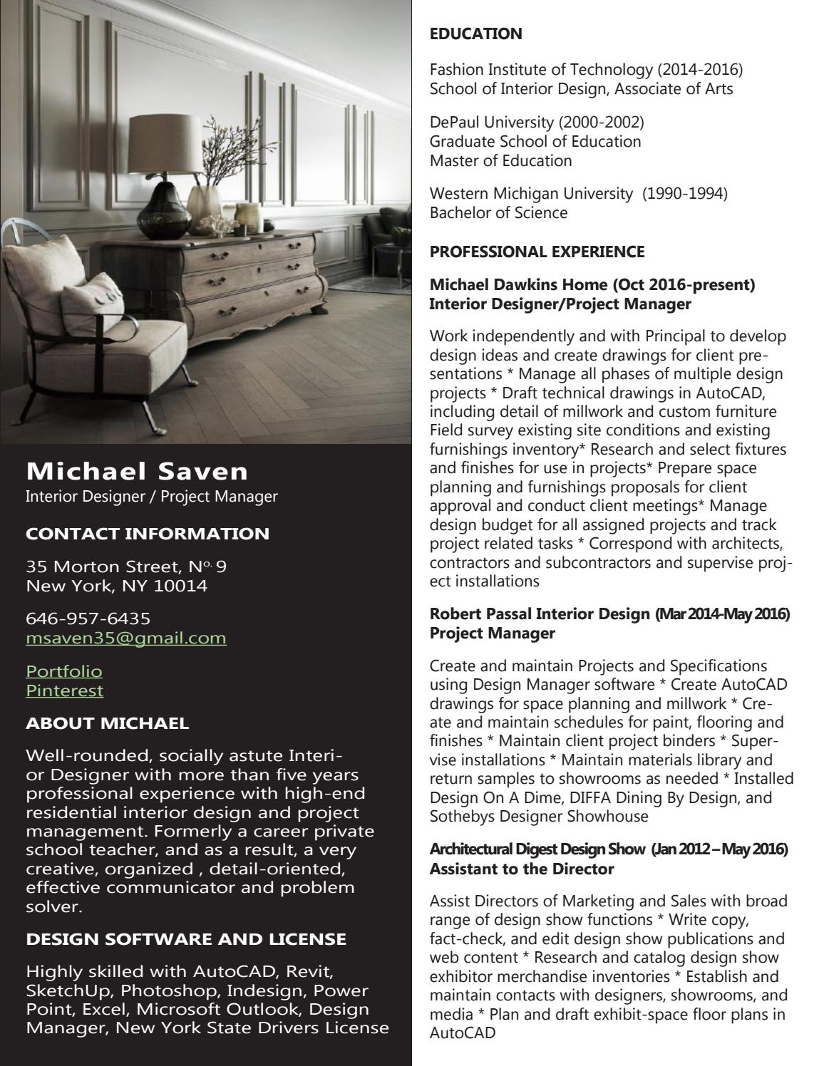 Resume Michael Saven By