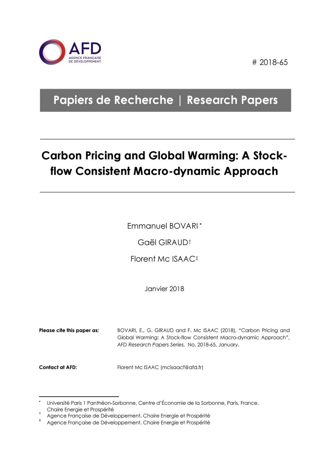 Carbon Pricing and Global Warming: A Stock-flow Consistent