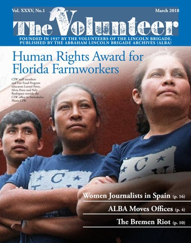 f522f3b33 The Volunteer March 2018. Published by the Abraham Lincoln Brigade Archives