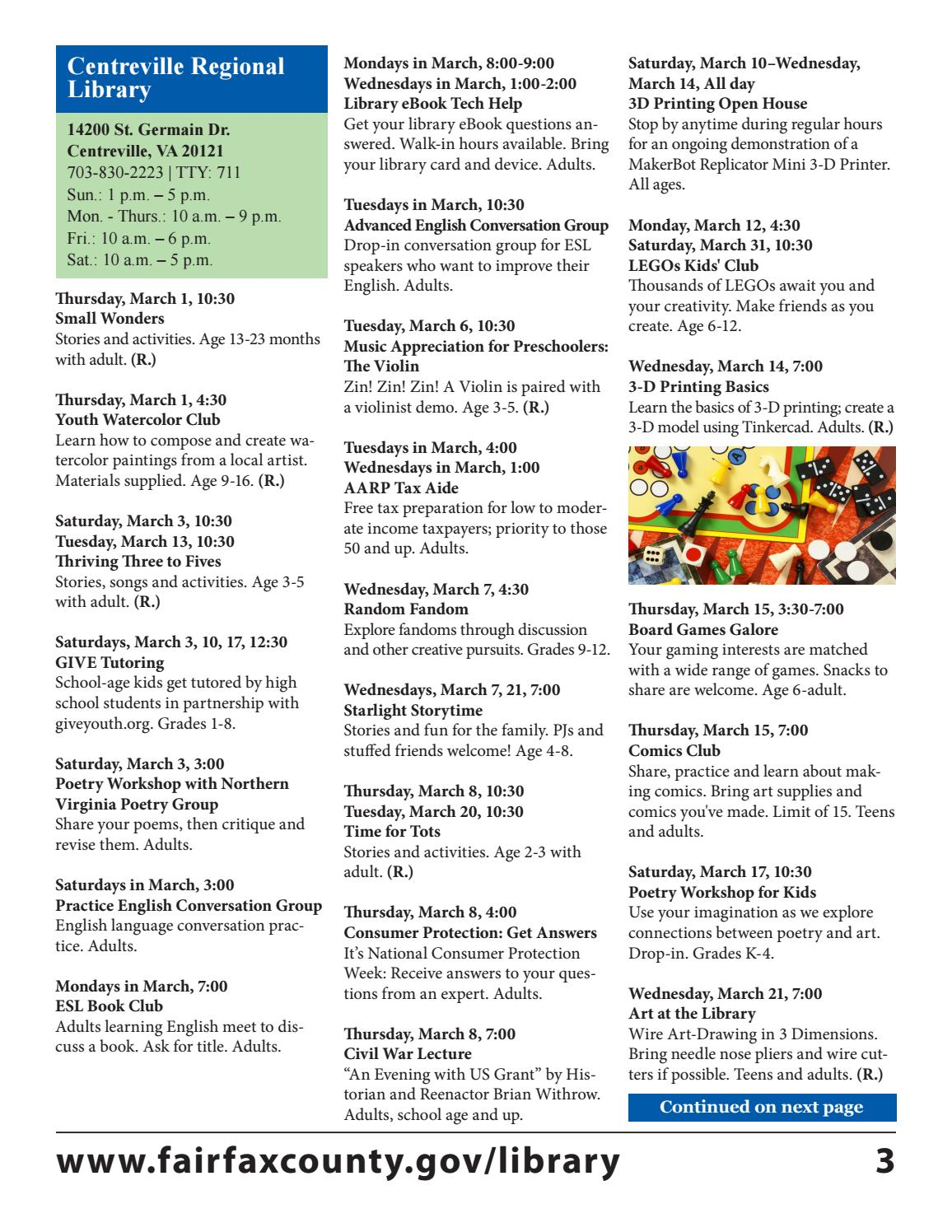 March 2018 Free Events Calendar by Fairfax County Public Library - issuu