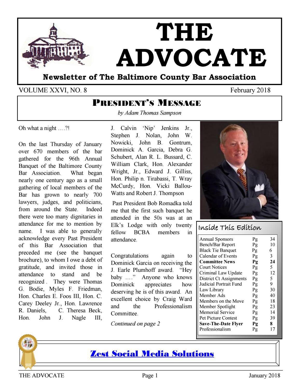 Sensational Advocate February 2018 By Baltimore County Bar Association Inzonedesignstudio Interior Chair Design Inzonedesignstudiocom