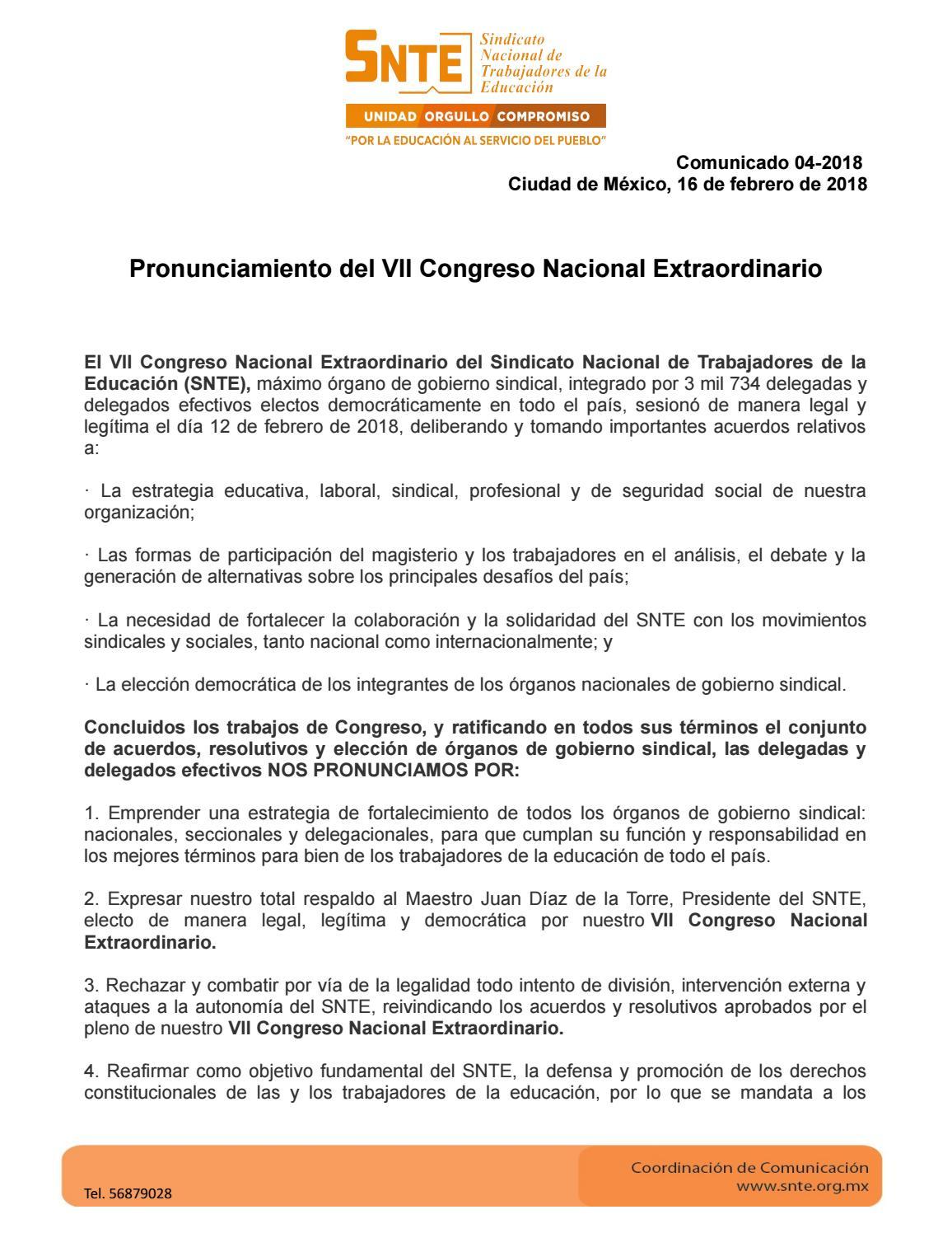 Pronunciamiento del VII Congreso Nacional Extraordinario del