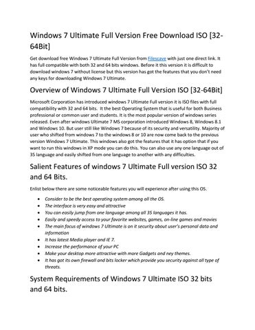 Windows 7 ultimate full version free download iso [32 64bit] by wiki