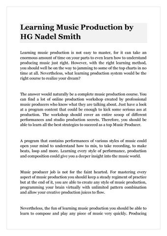 Learning Music Production By Hg Nadel Smith By Hg Nadel Smith Issuu