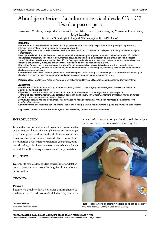 Abordaje anterior a la columna cervical by Laureano Medina - issuu