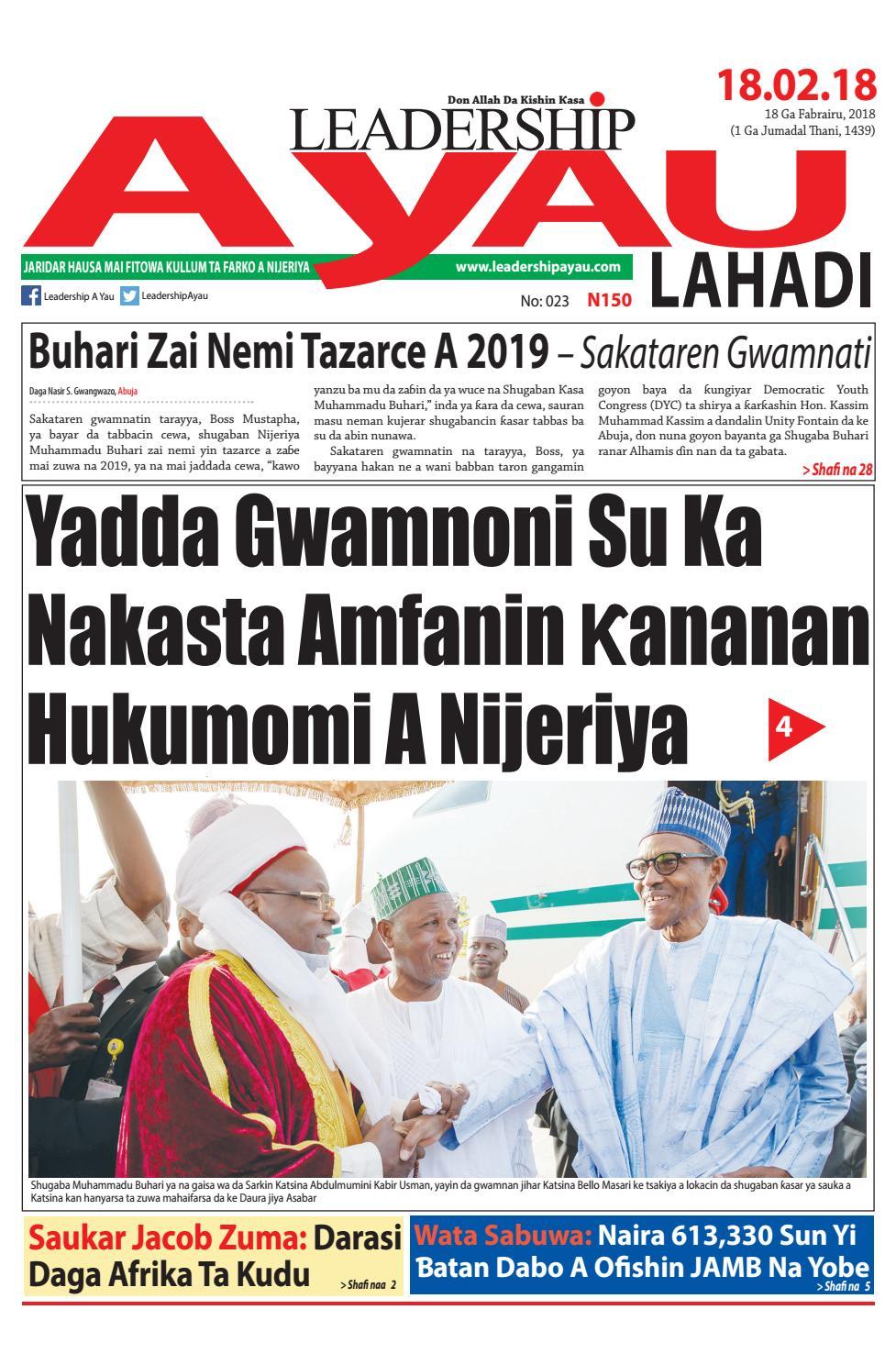 LEADERSHIP A Yau Lahadi E-PAPER, 18 Ga Fabrairu, 2018 by