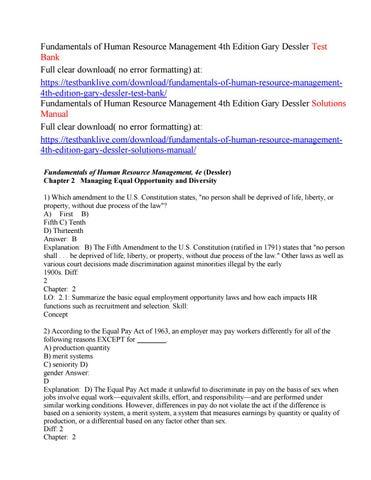 fundamentals of human resource management 4th edition gary desslerfundamentals of human resource management 4th edition gary dessler test bank