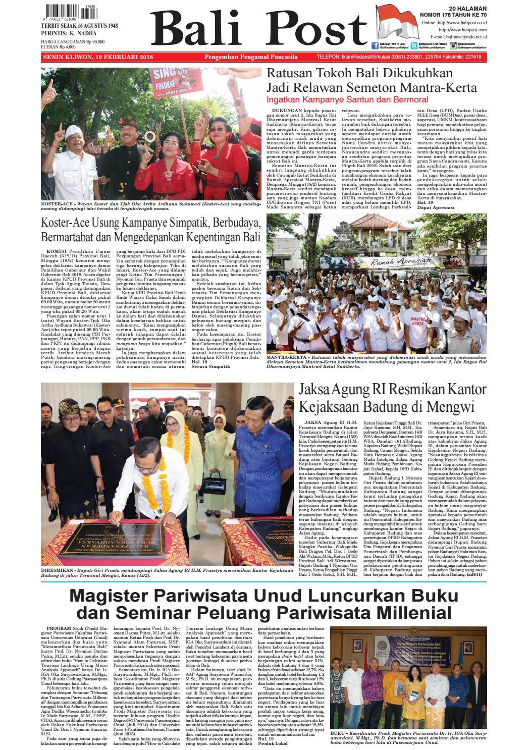 Edisi 19 Februari 2018 Balipostcom By E Paper Kmb Issuu So Hup Wan Enceran