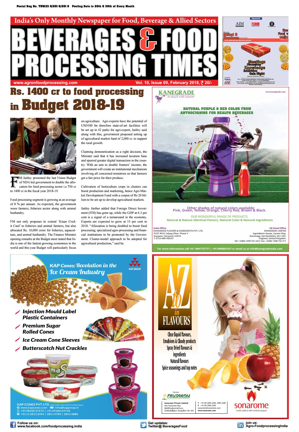 bec951d61 Beverages   Food Processing February 2018 by Advance Info Media ...