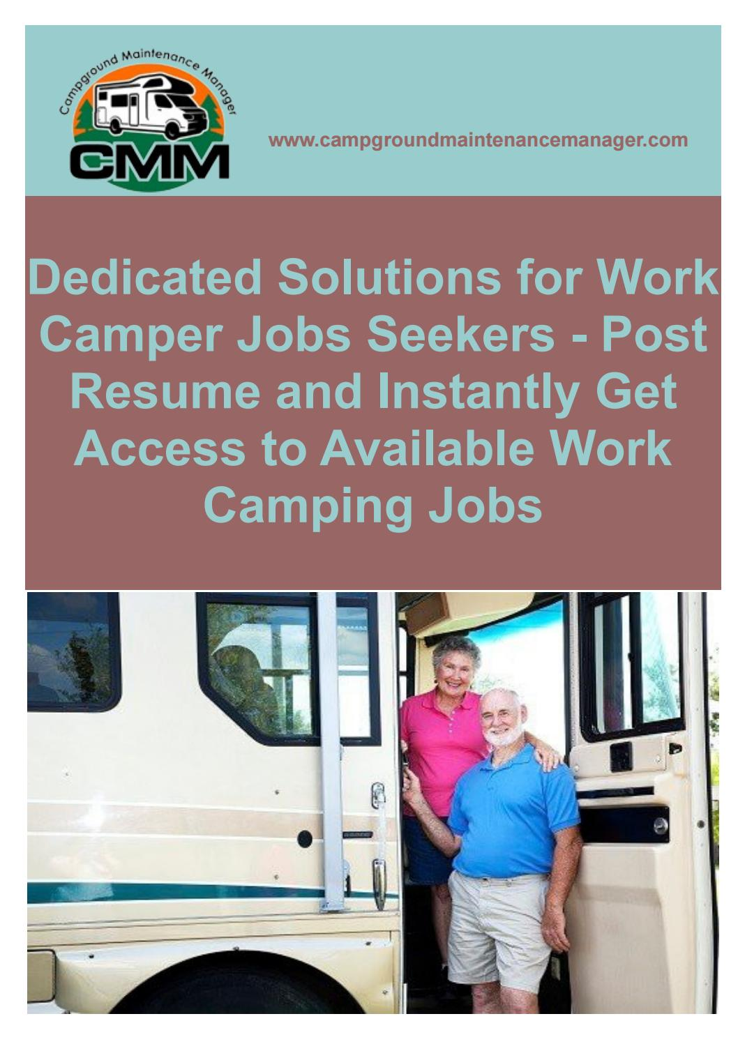 Dedicated solutions for work camper jobs seekers post resume and instantly get access to available w
