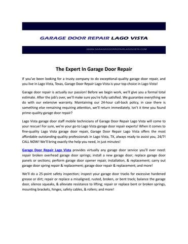 The Expert In Garage Door Repair By Garage Door Repair Lagovista Issuu