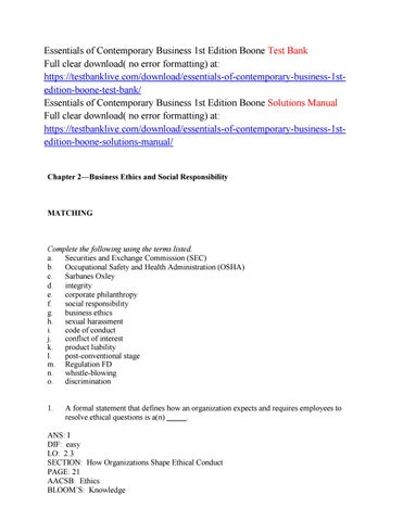 Essentials of contemporary business 1st edition boone test bank by essentials of contemporary business 1st edition boone test bank full clear download no error formatting at fandeluxe Choice Image
