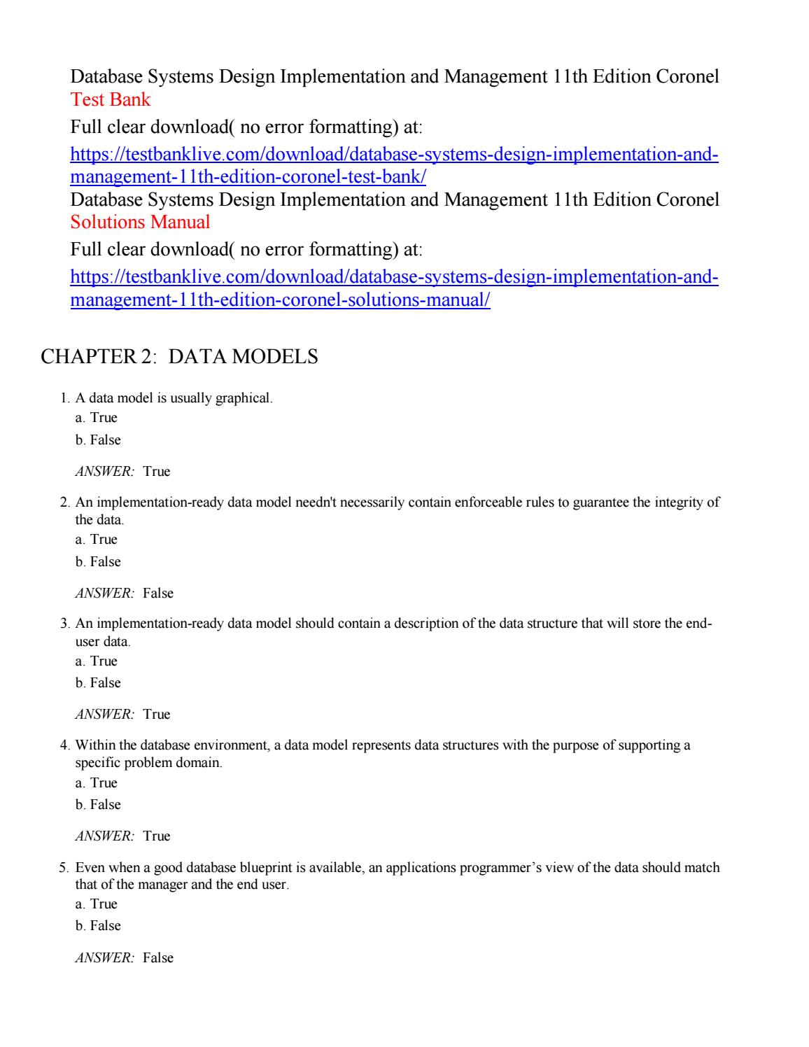 Database Systems Design Implementation And Management 11th Edition Coronel Test Bank By Farah028 Issuu