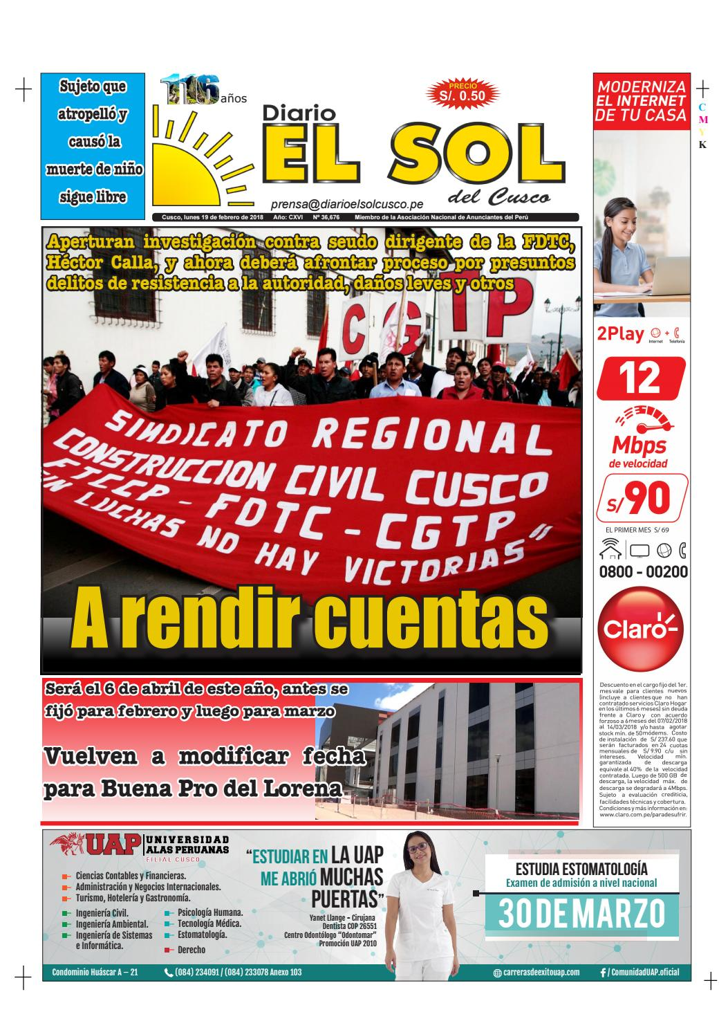 19|02|18 by Diario El Sol del Cusco - issuu