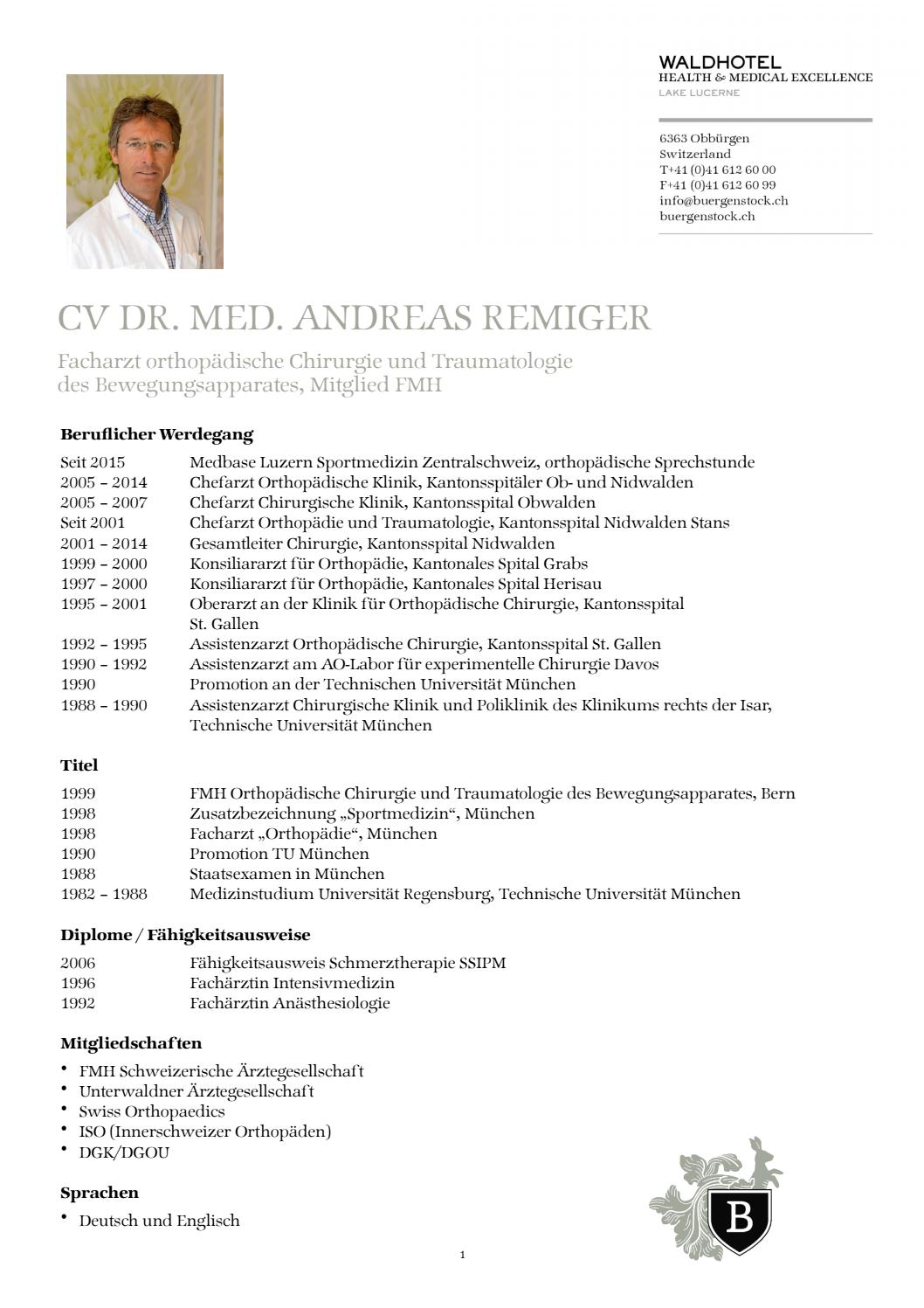 Lebenslauf Andreas Remiger by The Bürgenstock Selection - issuu