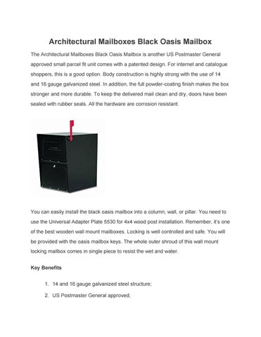 Architectural mailboxes black oasis mailbox by mr sayem - issuu