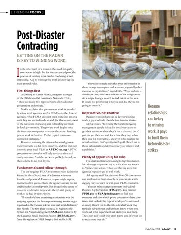 Page 13 of Getting on the radar to win post-disaster contracting work