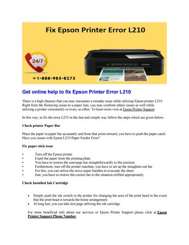 Get online help to fix epson printer error l210 by Joe Watson - issuu