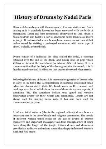 History of Drums by Nadel Paris by Nadel Paris - issuu