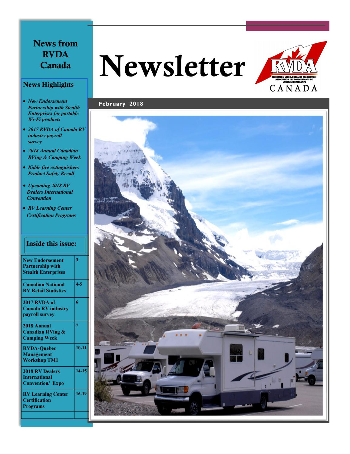 2018 February Newsletter By Rv Dealers Association Of