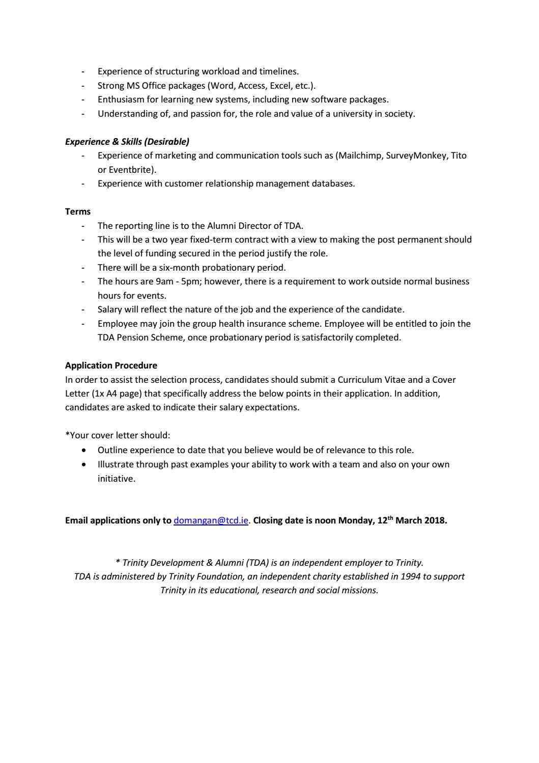 alumni relations executive job vacancy by tcd alumni issuu