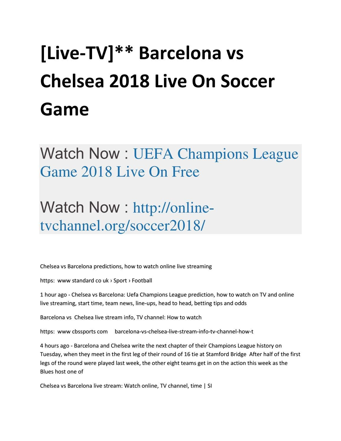 barcelona vs chelsea champions league live stream free