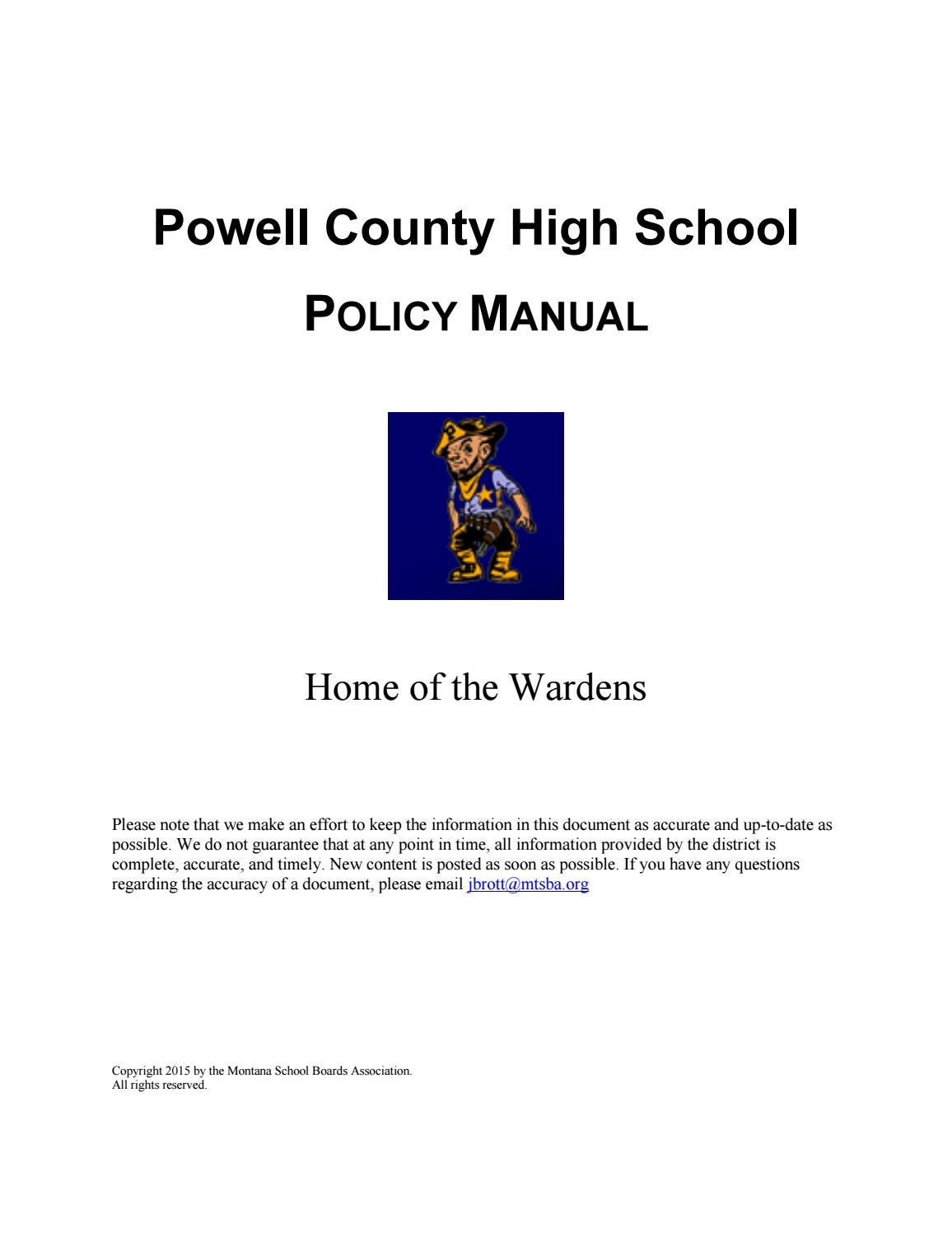 Powell County High Policy Manual by Montana School Boards