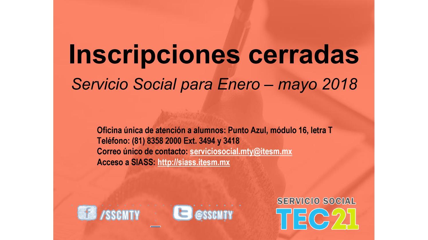 Catálogo para Inscripción al Servicio Social by servicio social ...