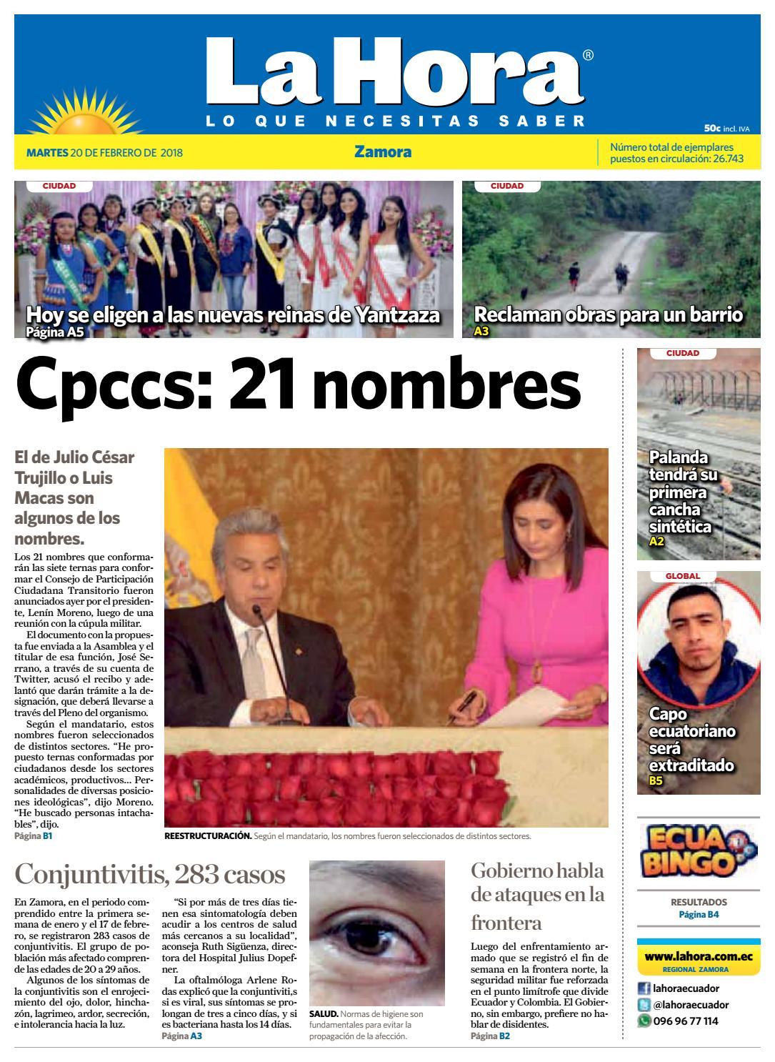 Diario la hora zamora 20 de febrero 2018 by Diario La Hora Ecuador ...