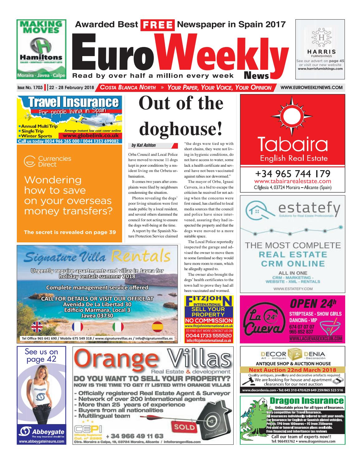 bb97352ec2f90 Euro Weekly News - Costa Blanca North 22 - 28 February 2018 Issue 1703 by  Euro Weekly News Media S.A. - issuu