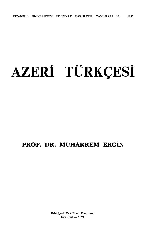 Muharrem Ergin Azeri Turkcesi By Turkcu Betik Issuu