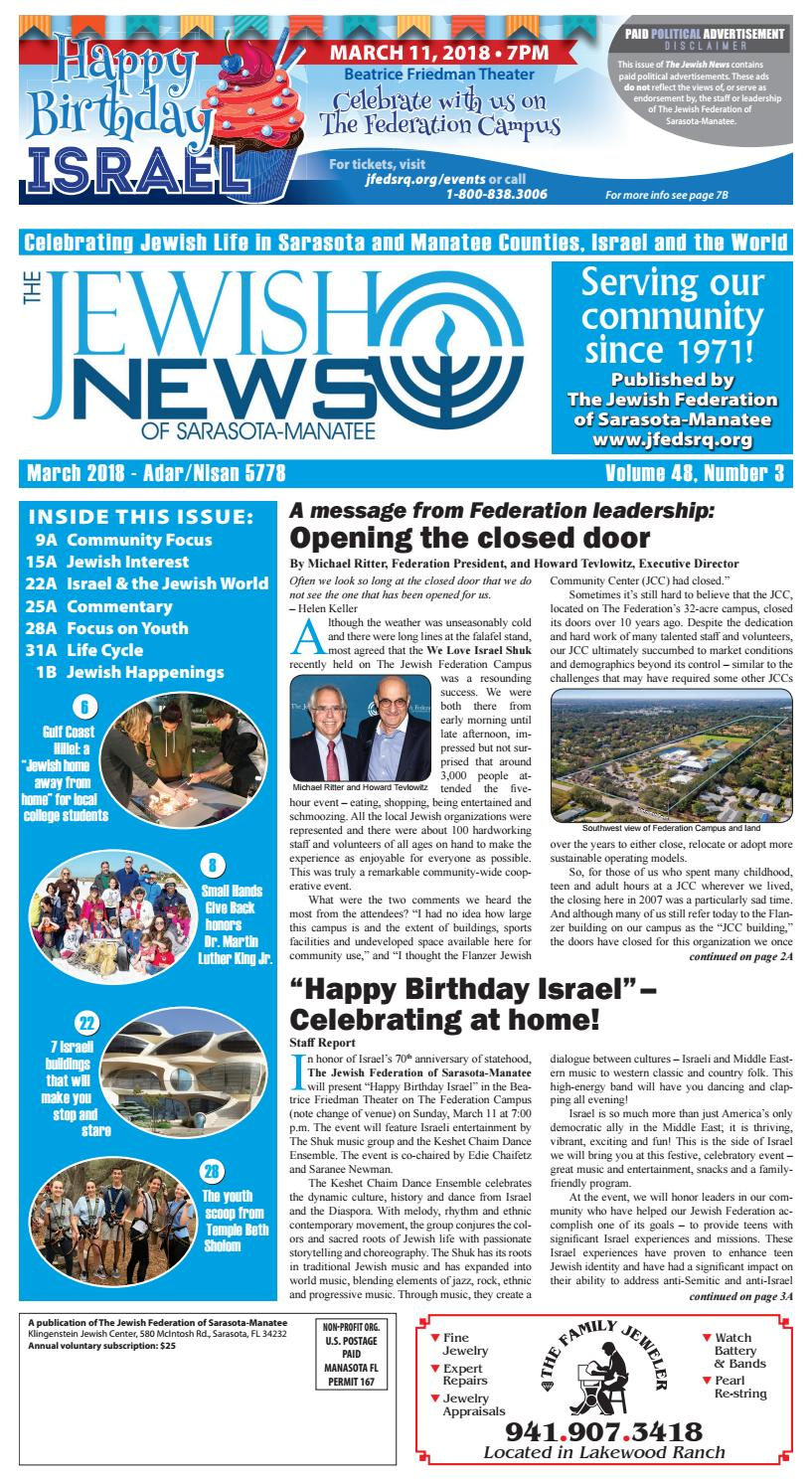 The Jewish News - March 2018 by The Jewish Federation of Sarasota-Manatee -  issuu