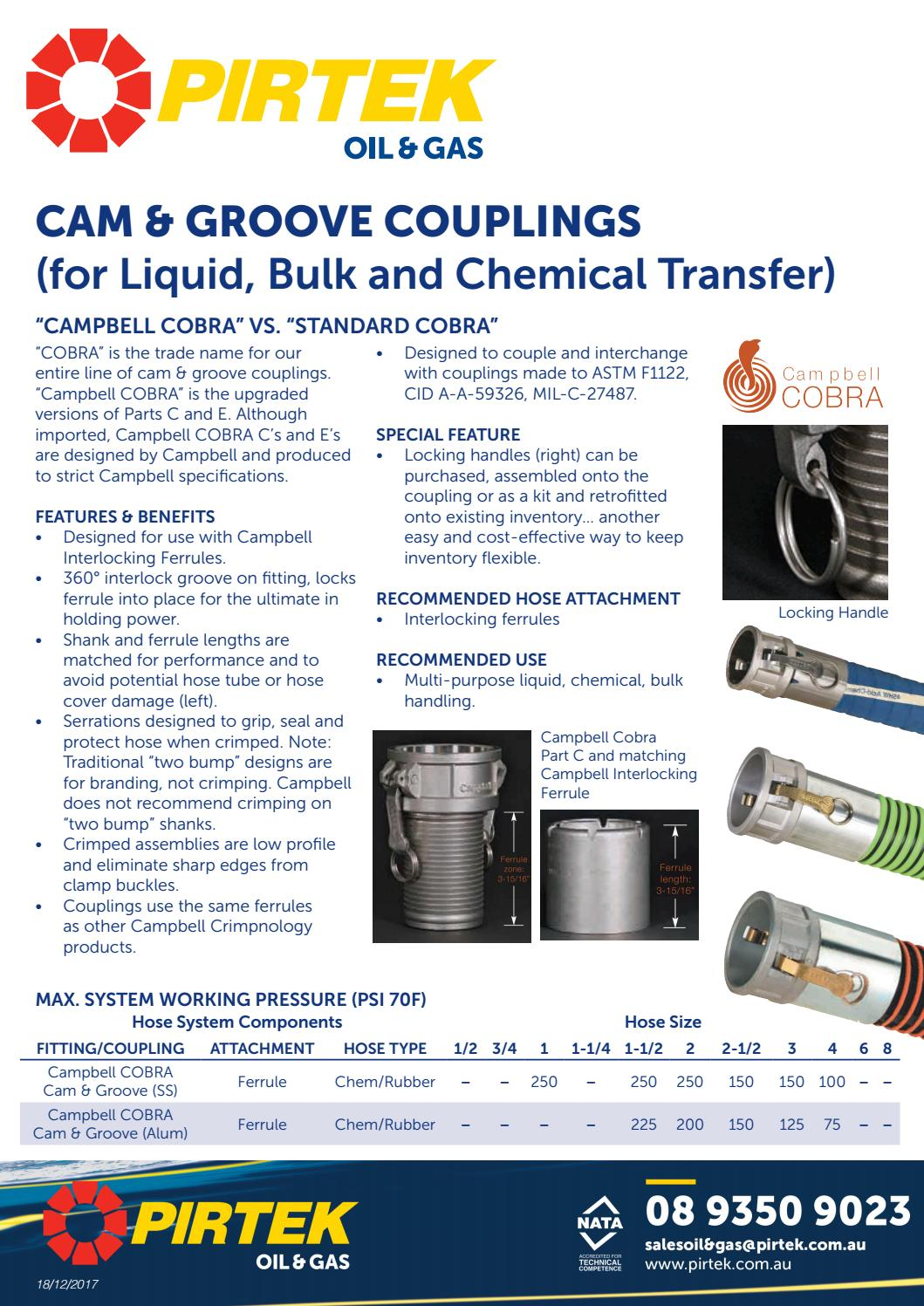 Campbell Fittings E-BR-400 Cam and Groove Brass 4 4 ID 4 4 ID
