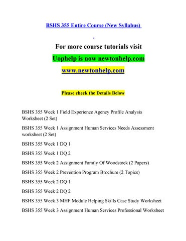Bshs 355 Help A Guide To Careernewtonhelp By