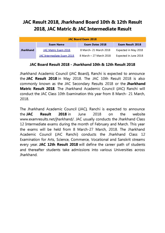 JAC Result 2018, Jharkhand Board Result 2018, JAC Matric