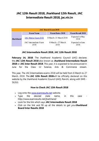 JAC 12th Result 2018, Jharkhand Intermediate Result 2018