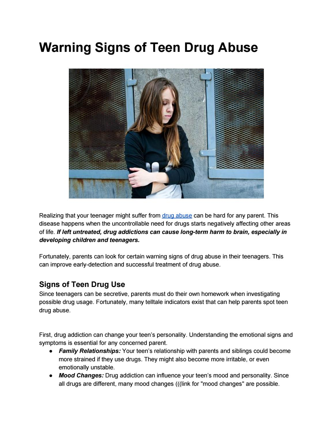 Warning signs of teen drug abuse by prowriter4life - issuu