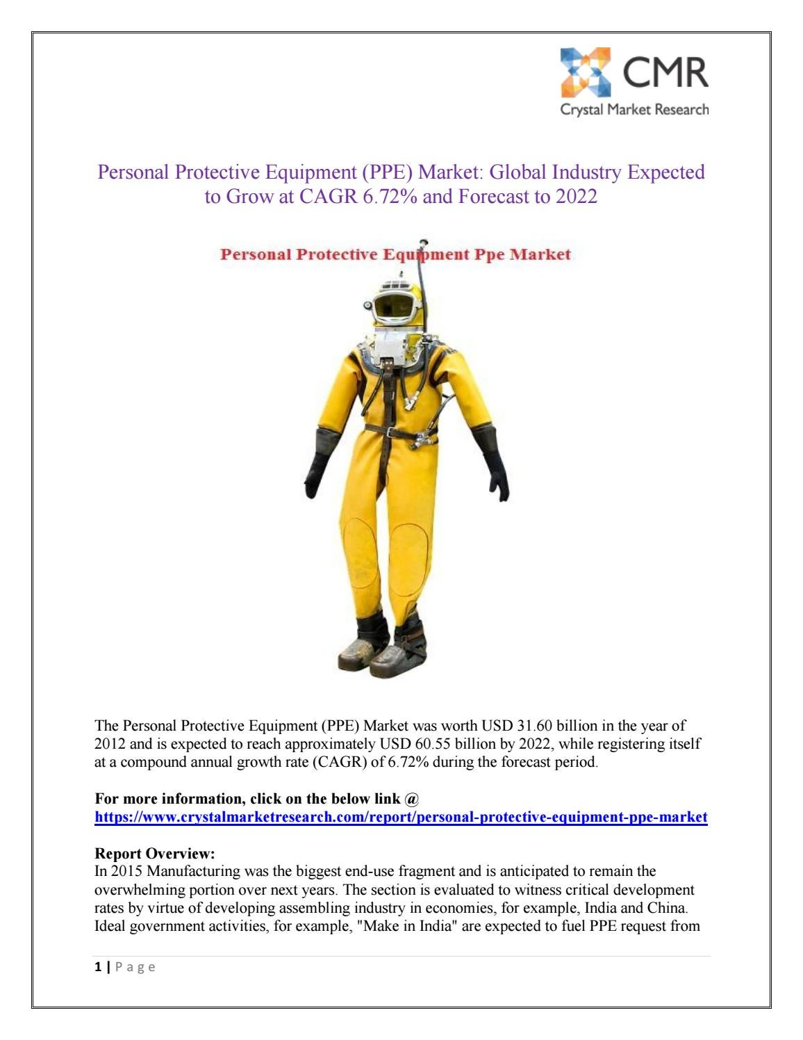 Personal protective equipment (ppe) market is projected to be around